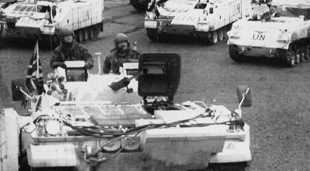 UN forces preparing to escort aid convoys during the Bosnain conflict.