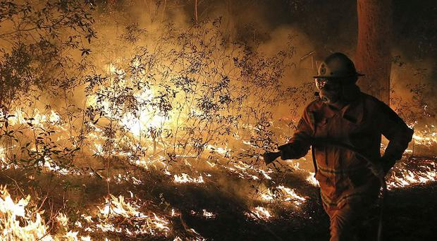 Firefighters tackle flames in Bilpin, 46 miles from Sydney.