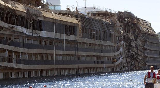 The Costa Concordia after it was lifted upright by salvage workers (AP)