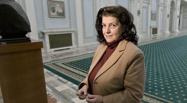 Anca Petrescu, the architect who designed the Parliament Palace, inside the building in Bucharest, Romania