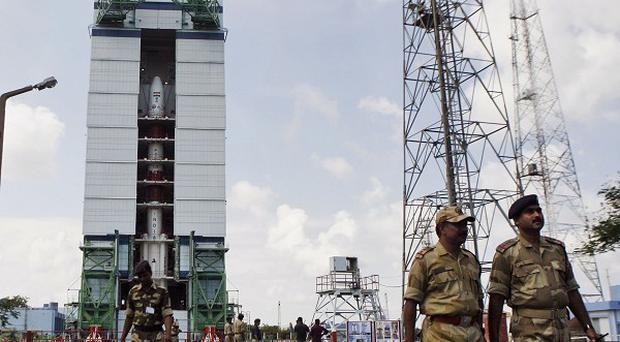 The Polar Satellite Launch Vehicle at the Satish Dhawan Space Centre at Sriharikota, in the southern Indian state of Andhra Pradesh (AP)