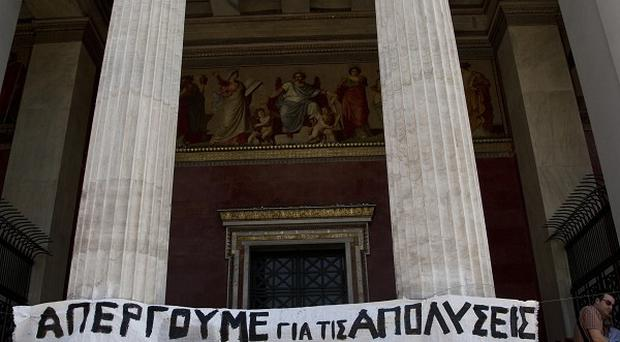 Public and private services have shut down across Greece as unions hold a 24-hour general strike
