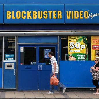 A Blockbuster video store in London. The DVD rental chain is closing 300 stores in the US.