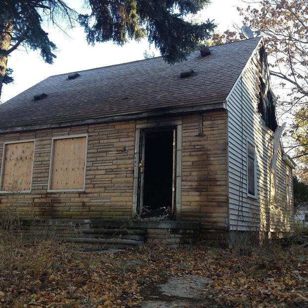 The fire-damaged childhood home of rapper Eminem in Detroit (AP/Detroit Free Press, Tammy Stables Battaglia)