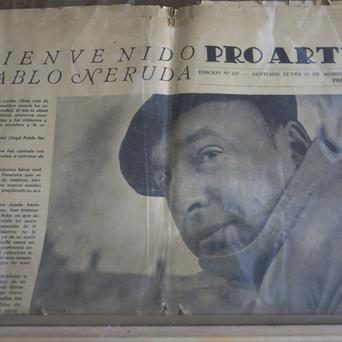 The copy of an old newspaper featuring Chile's Nobel-Prize winning poet Pablo Neruda is seen in his home in Santiago.