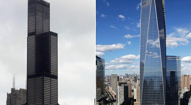 The new World Trade Centre (right) has been declared the tallest building in the US, beating Chicago's Willis Tower (AP)