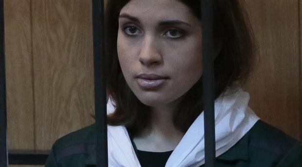 Nadezhda Tolokonnikova was sentenced to two years in prison after Pussy Riot's provocative political protest in Moscow's main cathedral (AP)