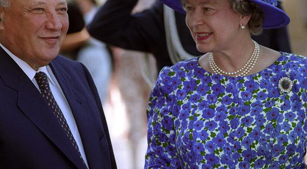 Cypriot President Glafcos Clerides with the Queen during a visit to Cyprus.