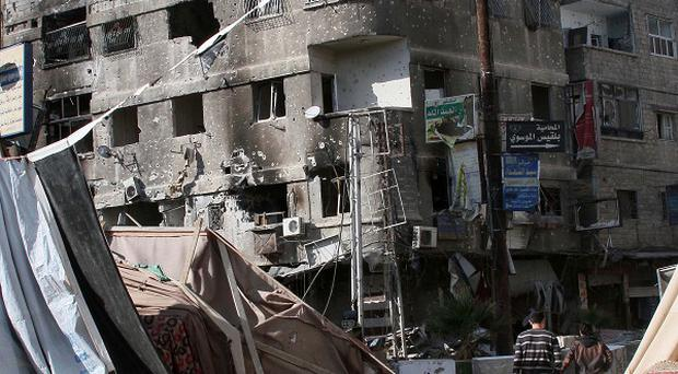 The wrecked town Hejeira, which Syrian troops captured from rebels (AP)