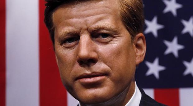 The wax figure of US President John F Kennedy is placed in the World Leaders area at Madame Tussauds in London (AP)