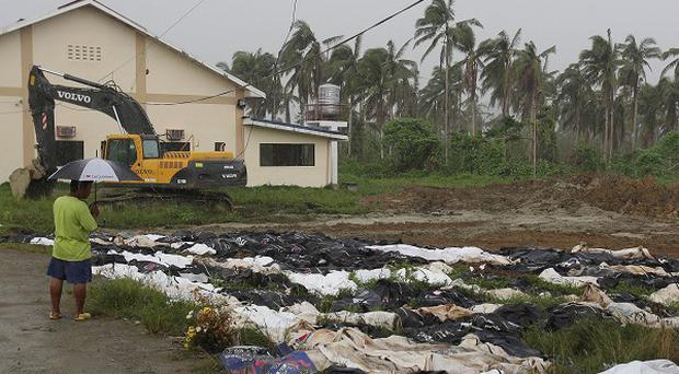 A typhoon survivor visits a mass grave as he tries to locate missing loved ones on the outskirts of Tacloban. (AP)