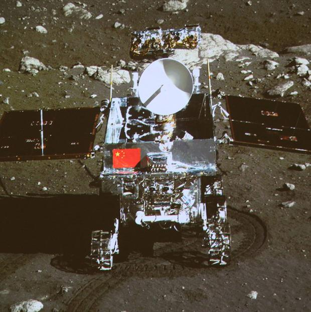 China's first moon rover Jade Rabbit, photographed from the onboard camera of the lunar probe Chang'e-3