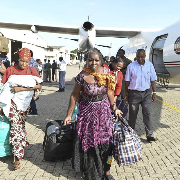 Kenyans arrive back home after being evacuated from Juba in South Sudan by the Kenyan Air Force. Other Kenyans, along with British and Canadian citizens, are reported to be trapped in Bor.
