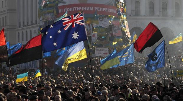 Pro-European Union activists gather in Independence Square in Kiev, Ukraine (AP)