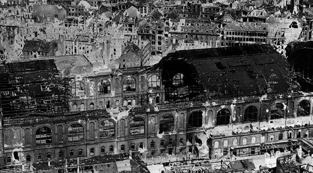 Many German cities, like Berlin shown here, were badly damaged by Allied bombing in the Second World War.