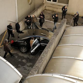 Media outside Schumacher's hospital (AP)