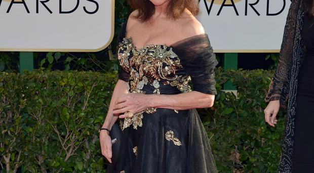 Jacqueline Bisset arrives at the Golden Globes (AP)
