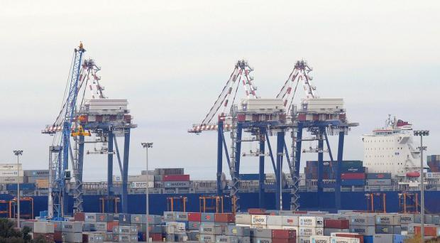 A cargo ship at harbour in the Italian port of Gioia Tauro where a shipment of chemical weapons materials from Syria will be transferred to a US ship (AP)