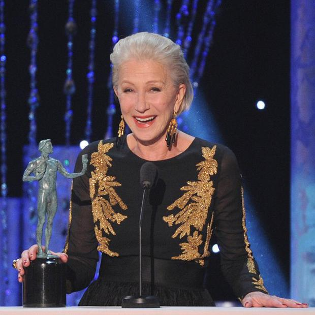 Dame Helen Mirren accepts the award for outstanding performance by a female actor in a television movie or mini-series for Phil Spector at the Screen Actors Guild Awards in Los Angeles (Invision/AP)