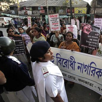 Activists protest against a gang rape in the city of Kolkata as the issue continues to grip India