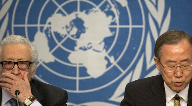 UN Special Representative Lakhdar Brahimi, left, and UN Secretary-General Ban Ki-moon are trying to get the two sides talking at the Syrian peace talks (AP)