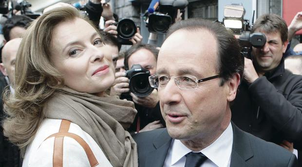 Francois Hollande and former companion Valerie Trierweiler