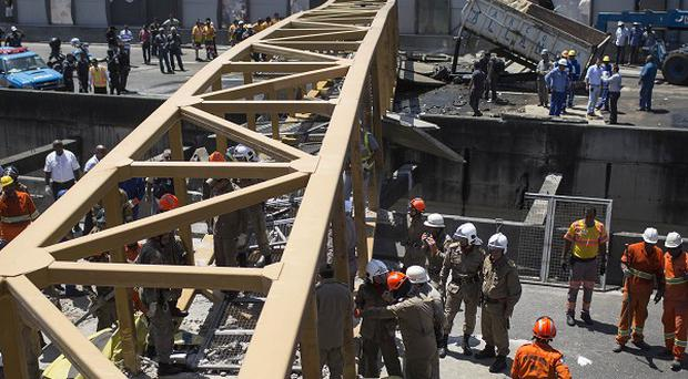 The bridge that collapsed after being hit by a truck in Rio de Janeiro (AP)