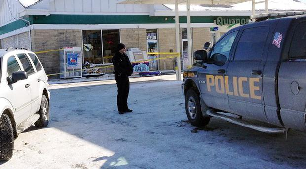 The Iowa petrol station where missing baby Kayden Powell was found alive (AP)