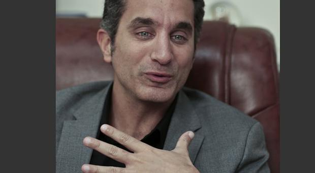 Egyptian satirist Bassem Youssef was back on air for the first time his show was suspended last autumn (AP)