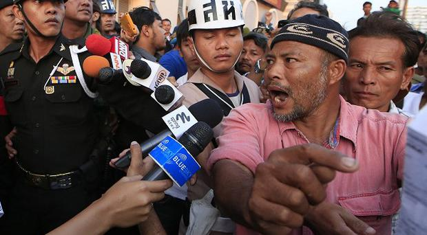 An angry Thai farmer during talks in Bangkok after a protest over the government's payments from last year's rice crops (AP)