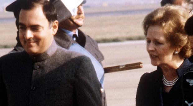 Rajiv Gandhi pictured with Margaret Thatcher during an official visit to Britain