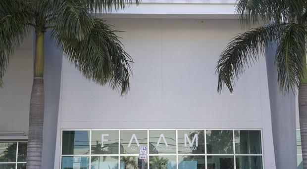 Fine Art Auctions Miami, where three works by Banksy were auctioned - although two did not receive their minimum bids (AP)
