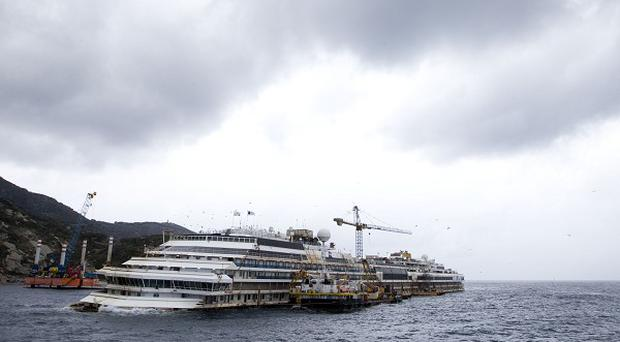 The wreck of the Costa Concordia off the Tuscan Island of Giglio (AP)