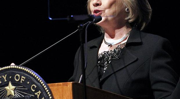 Hillary Clinton speaks to students at the University of California, Los Angeles (AP)