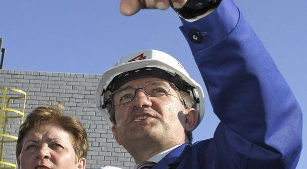Ukrainian oligarch Serhyi Taruta visits a metallurgical plant in Donetsk, Ukraine (AP)