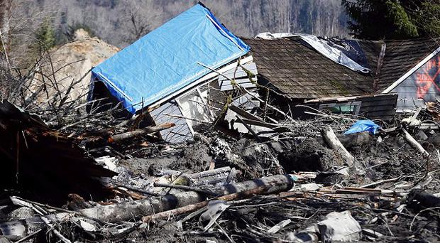 One of the houses destroyed by a landslide that hit the Snohomish County area of Washington state in the US (AP/Seattle Times)