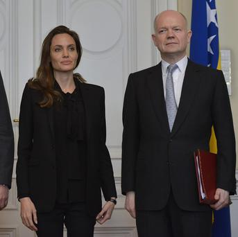 Angelina Jolie and William Hague at a conference in Sarajevo on sexual violence in conflict (AP)