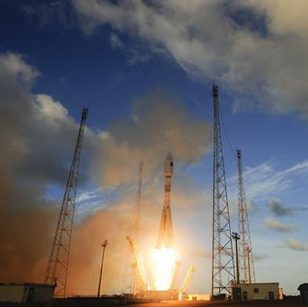 The Sentinel-1A satellite lifts off from Europe's Spaceport (European Space Agency/AP)