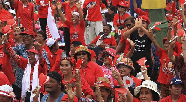 Pro-government Red Shirt members stage a rally in Bangkok, Thailand (AP Photo/Sakchai Lalit)