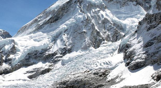 An avalanche has hit the area just below Camp 2 on Mount Everest
