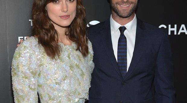 Keira Knightley and Adam Levine at the premiere of Begin Again at the Tribeca Film Festival in New York (Invision/AP)