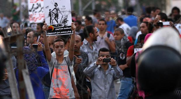 Demonstrators in Cairo over the weekend demanded the abolition of a law used to jail and prosecute activists (AP)
