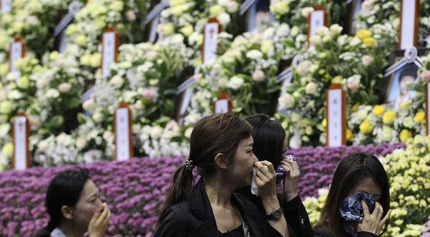 A memorial to the victims of the sunken ferry Sewol in Ansan, south of Seoul (AP)