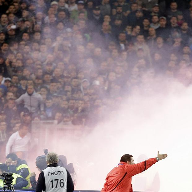 Fans at the Italian cup final match between Fiorentina and Napoli in Rome's Olympic stadium (AP)