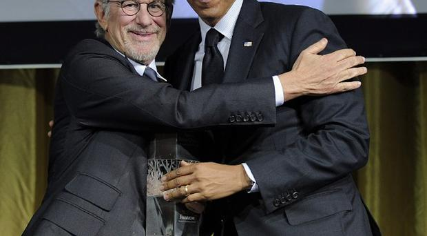 Steven Spielberg and Barack Obama at the USC Shoah Foundation fundraising gala in Los Angeles (AP)