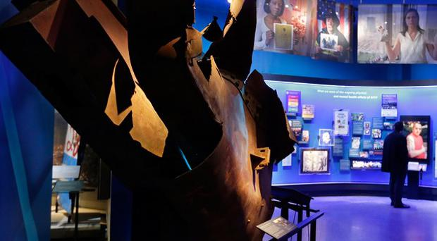 Steel from the World Trader Centre north tower is displayed at the National September 11 Memorial Museum (AP)