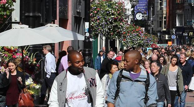 Shoppers on Dublin's Grafton Street.