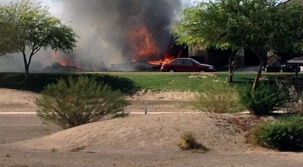 A military jet crashed into a residential neighbourhood in Imperial, California. (AP)