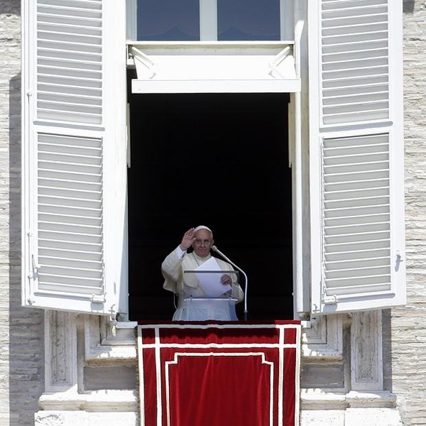 Pope Francis delivers the Regina Caeli prayer in St Peter's Square (AP)