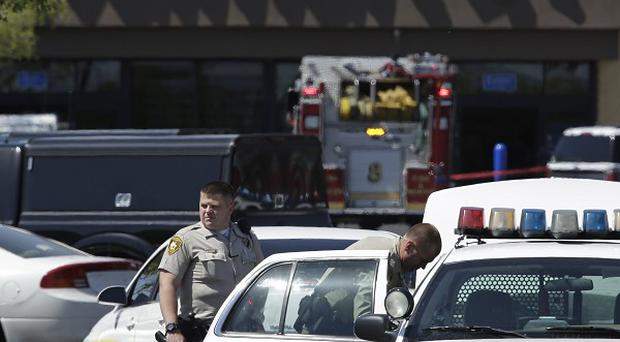 Police at the scene of the Las Vegas shooting (AP)